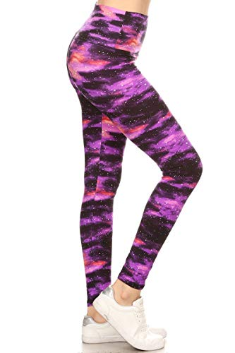 Leggings Depot LY5R-R555 Purple Galaxy