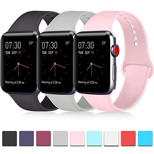 Pack 3 Compatible with Apple Watch Band 38mm, Soft Silicone Band Compatible iWatch Series 4, Series 3, Series 2, Series 1 (Black/Gray/Pink, 38mm/40mm-M/L)