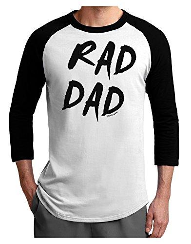 TooLoud Rad Dad Design Adult Raglan Shirt White Black Large (80s Outfits For Sale)