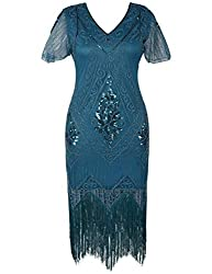 Cyan 1920s Sequin Art Dress with Sleeve