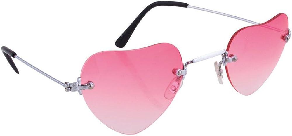 Herzbrille Rosa S/ü/ße Party Brille in Herzform f/ür Verliebte zu Hippie Kost/üm Fasching Karneval Festival Mottoparty