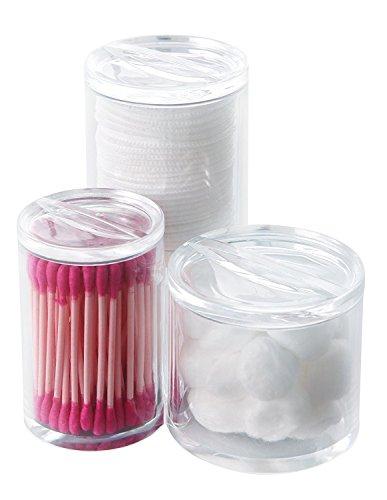 PuTwo Arcylic Cotton Pads Storage Cotton Buds Cotton Balls Organizer with Lids - Triple Round