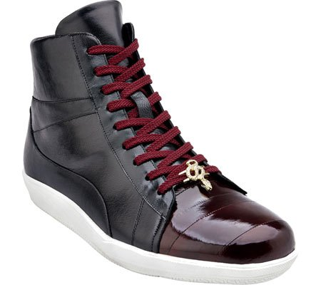 Belvedere Mens Vitale GENUINE EELSKIN & LEATHER SNEAKERS, Burgundy/Black, 11 Medium (330274) (Belvedere Shoes For Men compare prices)