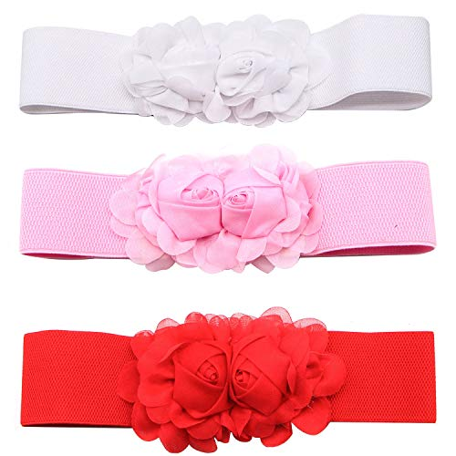 (JETEHO Womens Fashion Double Rose Flower Buckle Elastic Wide Belt Waistband for Dresses)