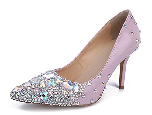 Party Wedding Sheepskin Mid TDA Women's Pink Pointed Drill Glass Toe Pumps Dress Heel CCqS8zw
