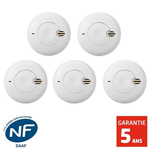 SIEMENS Garantie 5 ans SIDOREX SA7 LOT DE 5 D/étecteurs de fum/ée NF Autonomie 1 an