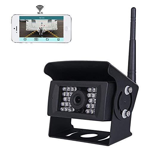 Draadloos Wifi Auto achteruitrijcamerasysteem, 36v tot 12v IP69 Waterdicht Super Nachtzicht 28 IRs-lichten met back…