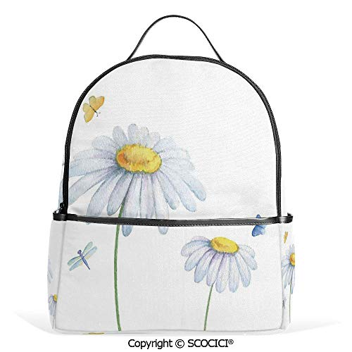Casual Fashion Backpack Chamomiles Moths Dragonflies Refreshing Nature Template Print with Soft Colors,White Yellow,Mini Daypack for Women & Girls ()