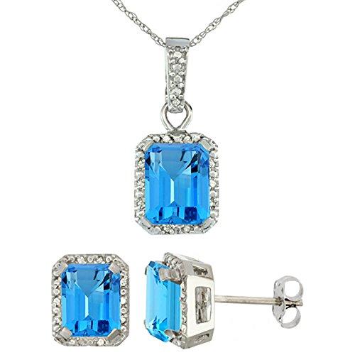 Or blanc 9Ct naturel octogone 8x 6mm topaze bleu Suisse Boucles d'oreilles et pendentif Set Accents de diamant