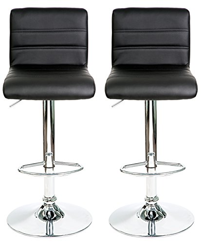 HULLR Modern Swivel Bar Stools Chairs Height Adjustable, Set of 2 (Black) - Swivel Stool Stainless Steel Backrest