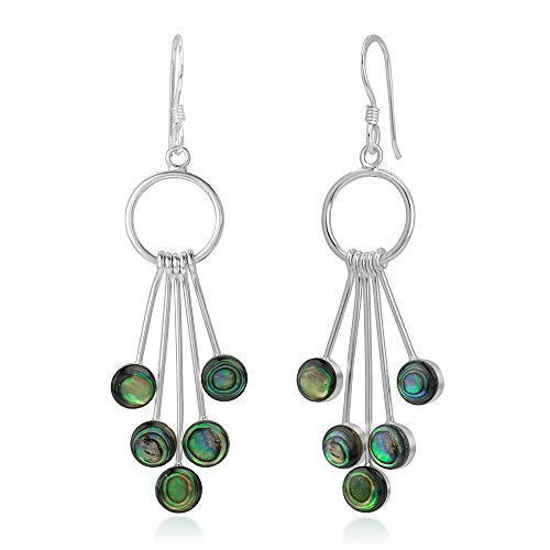925 Sterling Silver Green Abalone Shell Dangling Snow Balls Elegant Long Dangle Earrings 2