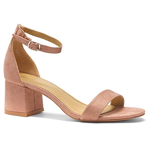 Herstyle Sunday Women's Open Toe Ankle Strap Block Chunky Low Heeled Sandal Comfortable Office Pump Shoes Mauve -