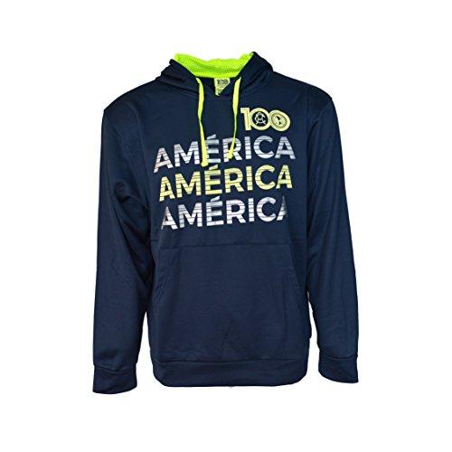 Club America Hoodie Centenario 100 Anniversary Fleece Sweatshirt Jacket Navy New Season (L, Navy)