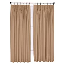 Ellis Curtain Crosby Thermal Insulated 48 by 63-Inch Pinch Pleated Foamback Curtains, Linen