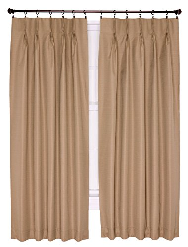 (Ellis Curtain Crosby Thermal Insulated 96 by 84-Inch Pinch Pleated Foamback Curtains, Linen)