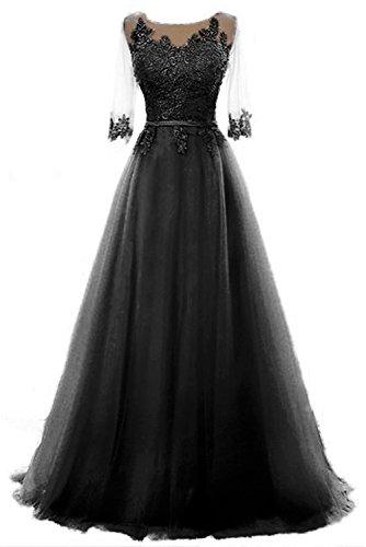 Vickyben Damen A-Linie langes Schnuerung Prinzessin Tuell Abendkleid Ballkleid brautjungfer Cocktail Party kleid negro