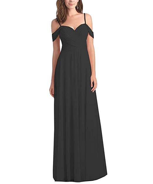 0026f869227 WuliDress Women s Off The Shoulder Chiffon A Line Ruched Bridesmaid Dress  Long Evening Prom Party Formal Gown at Amazon Women s Clothing store