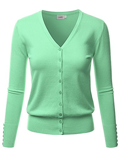 LALABEE Women's V-Neck Long Sleeve Button Down Sweater Cardigan Soft Knit-Honeydew-S
