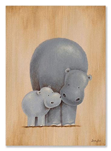 (Oopsy daisy, Fine Art for Kids Safari Kisses Hippos Stretched Canvas Art by Sarah Lowe, 10 by 14-Inch)