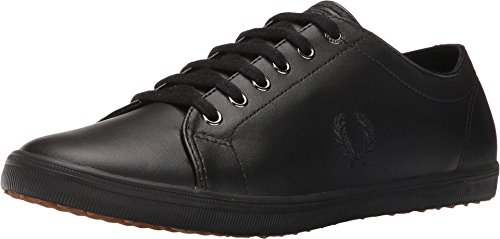 Fred Perry Kingston Leather Sneaker, Black, 6 D UK (7 US)