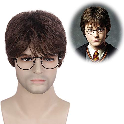 STfantasy Mens Brown Wig Harry Potter Cosplay Short Layered Natural Synthetic Hair Male Guy Halloween Costume -