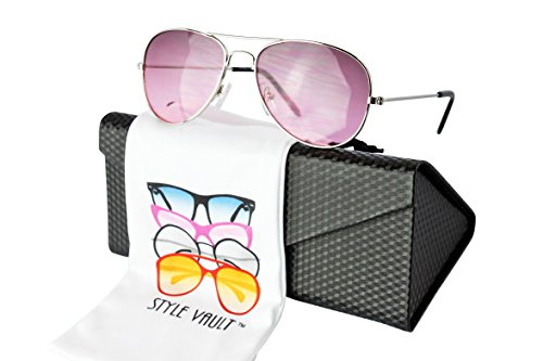 Metal Vault Sunglass Case (Kd212-ec Kids Childrens (2~9 Years Old) Metal Aviator Pilot Sunglasses (S3414V Silver-violet w case, uv400))