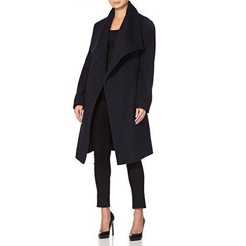 Marine Winter Anastasia Womens Wool Large Wrap Cashmere Belted Coat Collar Bleu pzxwzOqg