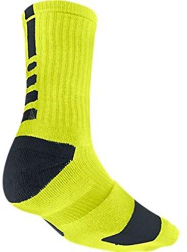 Nike Dri-Fit Elite Crew Basketball Socks-Lime Green/Black-Medium (Nike Elite Soccer Socks Green)