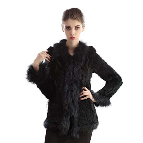 AmelieDress Real Rabbit Fur Coats Raccoon Fur Vests Collar Knit (Black Rabbit Knit Jacket)