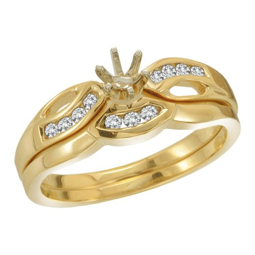 KATARINA Diamond Semi Mount Engagement Set in 14K Yellow Gold (1/6 cttw) (Color-GH, Clarity-I1)