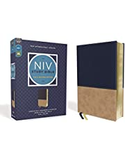 NIV Study Bible, Fully Revised Edition, Leathersoft, Navy/Tan, Red Letter, Comfort Print