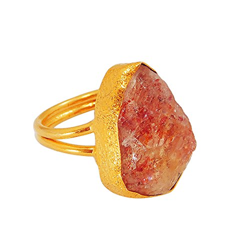 22k Gold Vermeil Real Sun Stone Bezel Set Women Fashion Ring