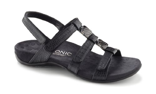 Vionic with Orthaheel Technology Womens Amber Slide Sandal Black Size 8 by Vionic