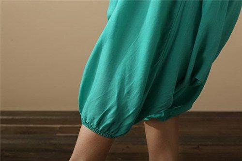 Aivtalk - Damen Sommerhose Tiefer Schritt Hose Leinen Hosen - Grün