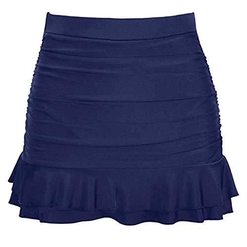 〓LYN Star〓 Women Swim Skirt Solid Color Waistband Skort Bikini Bottom High Waisted Shirred Swim Bottom Ruffle Swim Skirt Navy