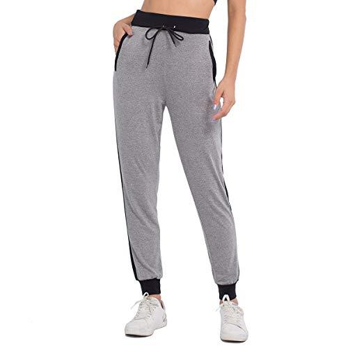 JTANIB Jogger Pants for Women, Active Lounge Drawstring Waist Yoga Leggings Sweatpants with Pockets,Grey XL ()