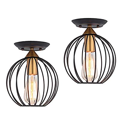 HOXIYA Flush Mount Ceiling Lights Metal Cage Semi Flush Mounted Pendant Light Fixtures for Garage Porch Entryway Foyer Hallway Lighting