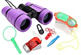 WODISON Kids Nature Exploration Kit Binoculars Set: Flashlight, Compass, Whistle, Bug Container Set, Children Outdoor Adventure Toy for Birdwatching Camping Educational Learning Purple Review