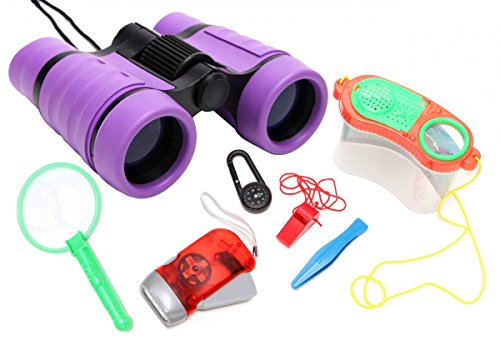 WODISON Kids Nature Exploration Kit Binoculars Set: Flashlig