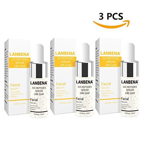 LANBENA Face Skin Care Products,Liquid Six Peptides Serum 24K Gold For Striae Anti-Wrinkle Cream Anti Aging Collagen (3 PCS)