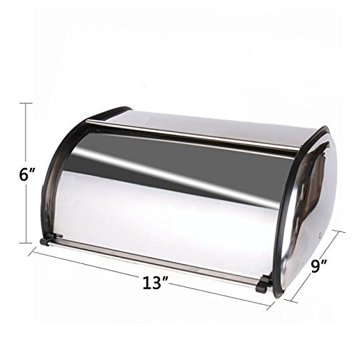 Hot Sales X459S Stainless Steel Bread Box/Bin/Kitchen Storage Containers/Home Gifts with Coasters and Roll Top Lid KL