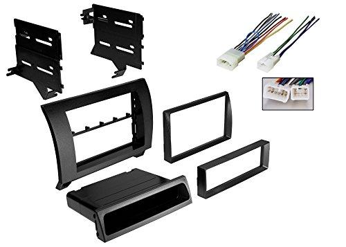 Car Radio Black Dash Kit Harness for 2007-2013 Toyota Tundra Sequoia W/ Wiring (Tundra Dash Kit)