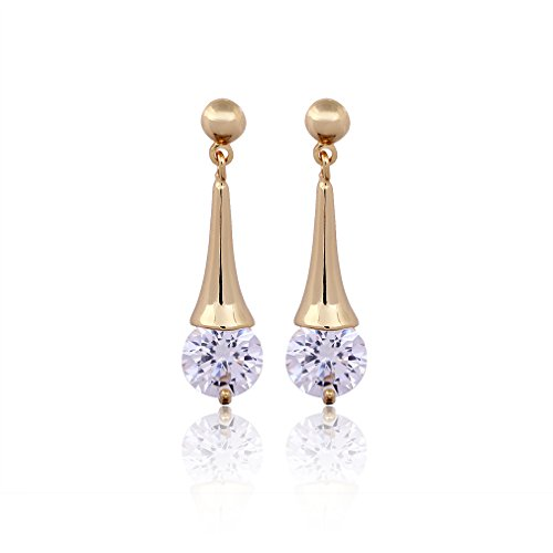 Clear Cubic Zirconia Dangle Earrings for Bridal Wedding Gold Plated Earrings for women girls Erz0564 (White) (Qz Wedding Rings)