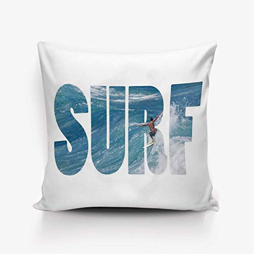 YOLIYANA Surf Soft Throw Pillow Cover,Surfer Riding Giant Majestic Ocean Wave in Hawaii Adrenalin Epic Athlete Sea Pacific for Home Office,16