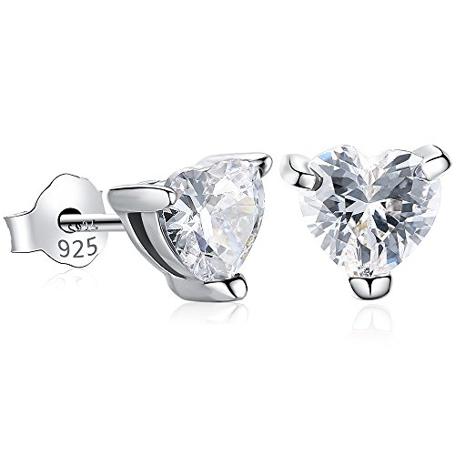 Gagafeel S925 Sterling Silver Women Girl Love CZ Heart Crystal Stud Earrings with Gift Box (White) by GAGAFEEL (Image #8)
