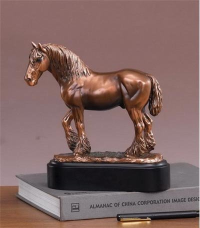 Desktopstatue Shire Mare Bronze Finish Statue with Base, 8.5 inches H