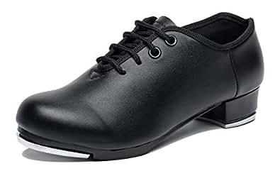 joocare Child Lace Up Beginner Tap Dance Shoes Unisex (Toddler/Little Kid) Black Size: 1.5 Little Kid