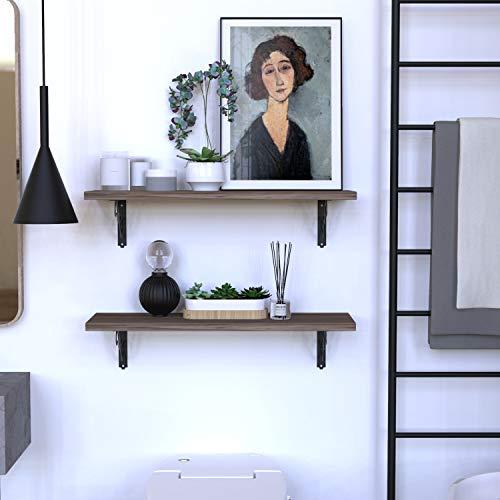 ETECHMART Decorative Shelf Brackets, Pack of 2 Wall Mounted Floating Shelf Bracket, L Shape Heavy Duty Metal Corner Brace Shelf Supporter (5 Inch, Black)