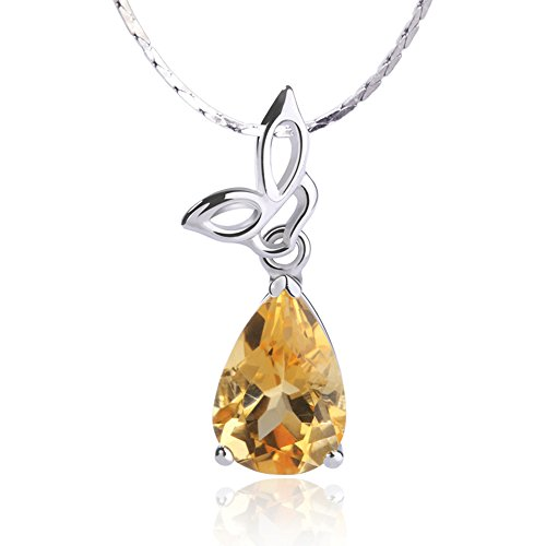 - iSTONE Natural Gemstone Water Drop Citrine Pendant Necklaces 925 Sterling Silver Chain