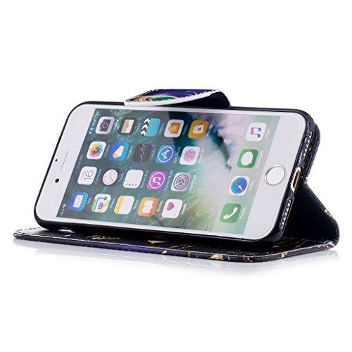 iPhone 7 Coque,Papillon Or Portefeuille Fermoir Magnétique Supporter Flip Téléphone Protection Housse Case Étui Pour Apple iPhone 7 4.7 Pouce